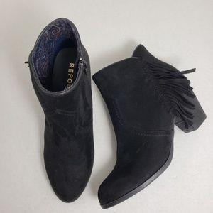 Report Black Fringe Ankle Zip Closed Toe Booties
